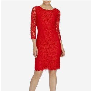 Diane Von Furstenberg Lace Red Colleen Dress 6 NWT
